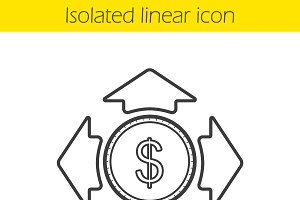 Money spending linear icon. Vector