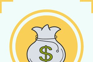 Money bag color icon. Vector