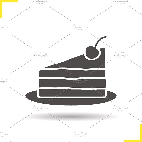 Cake on plate icon. Vector - Icons
