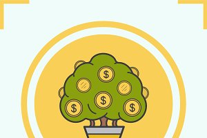 Money tree color icon. Vector