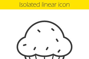 Cupcake linear icon. Vector