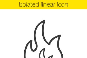 Flammable sign linear icon. Vector