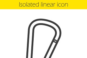 Carabiner linear icon. Vector