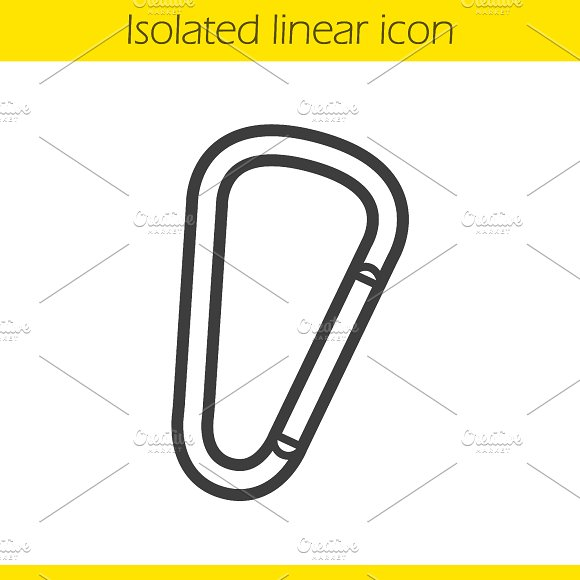 Carabiner linear icon. Vector - Icons