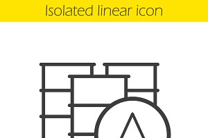 Oil barrels linear icon. Vector