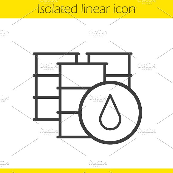 Oil barrels linear icon. Vector - Icons
