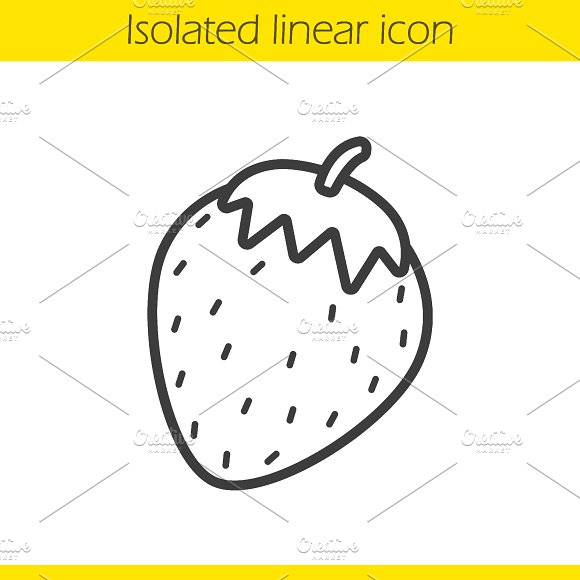 Strawberry linear icon. Vector - Icons