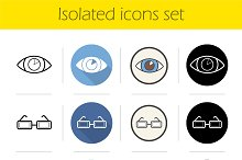 Ophthalmology. 12 icons. Vector