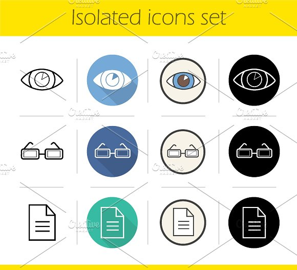 Ophthalmology. 12 icons. Vector - Icons