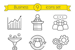 Business. 9 linear icons. Vector