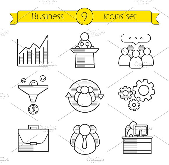 Business. 9 linear icons. Vector - Icons