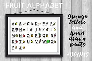 Vector fruit alphabet for kids.SALE