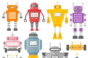 Set of cute vintage robots vector
