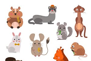 Cartoon rodents animals vector set