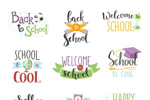 Back to school text vector set