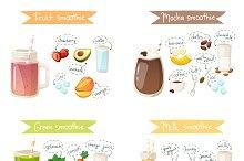 Smoothie drink recipe vector set