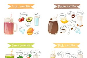 Smoothie drink recipe vector set