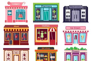 Shop facade vector illustration