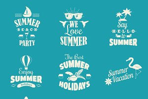Summer emblem vector set