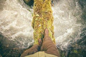 Feet Man trekking boots