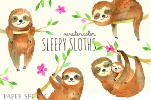Sleepy Sloths Watercolor Pack