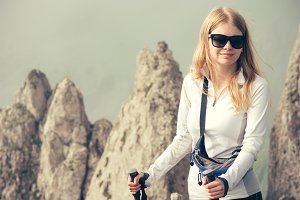 Young Woman Traveler with trekking