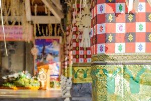 Traditional colorful Hindu pattern of Pura Ulun Danu temple in Bali. Indonesia