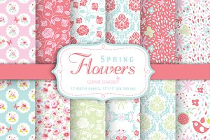 Spring flower Digital Papers Pack