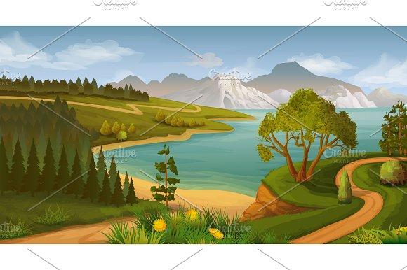 Nature landscape, sea bay, game icon
