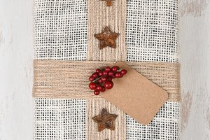 Burlap Wrapped Christmas Present