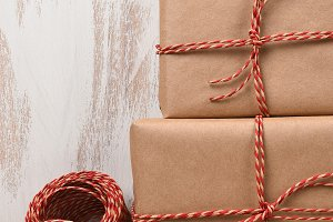 Closeup Christmas Gifts and Twine