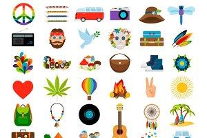Hippie flat icons