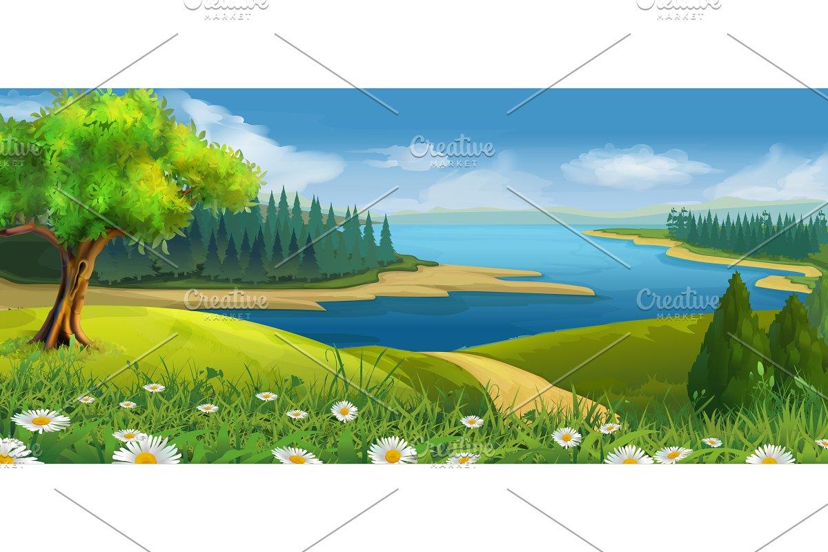 Nature landscape, stream valley