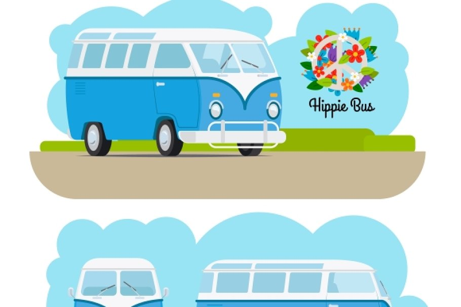 Hippie vintage mini van