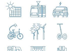 Green energy line icons