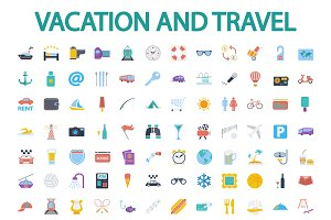 Vacation and travel icons set.