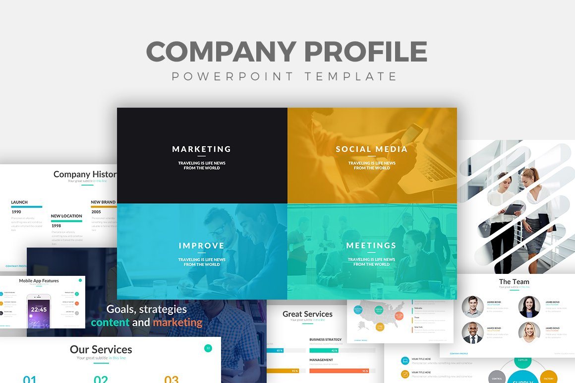 Company profile powerpoint template presentation templates company profile powerpoint template presentation templates creative market fbccfo Image collections