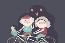 Elderly couple riding bicycle tandem