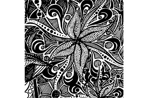 Monochrome doodle zentangle pattern