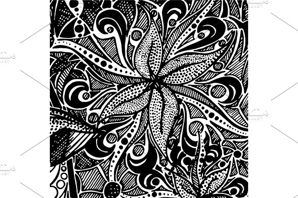 Monochrome Doodle Zentangle Pattern Graphic Patterns Creative Market Simple Zentangle Patterns