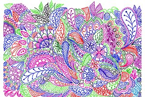Colorful doodle pattern vector