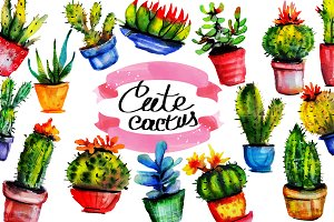 set of cute watercolor cactus