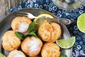 Cakes profiteroles with lemonade
