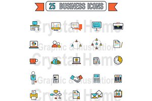 Flat line Business color icon set