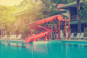 water slide at swimming pool