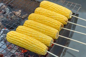 sweet Corn grilled burns on stove
