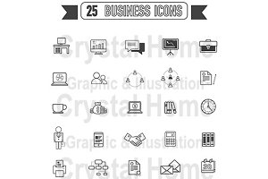Flat line Business silhouette icon