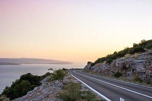 Seaside Road During Sunset