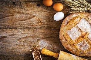 Fresh bread, rustic bakery concept