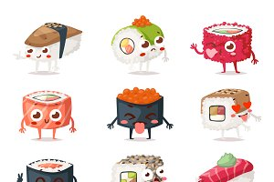 Sushi characters vector set